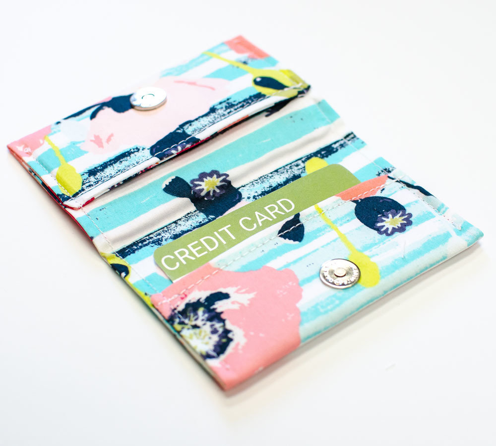 Aqua Stripe Pink Peony Credit Card Holder Slim Wallet Business Card ...