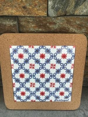 Azulejo Trivet (White/Red Tiles)