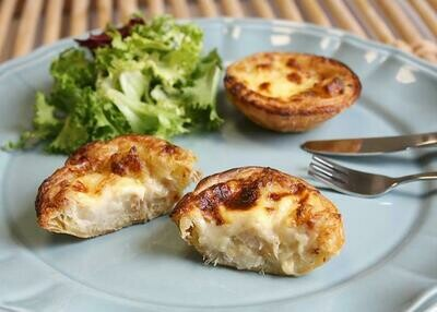 Bacalhau c/Natas Pasteis - Salted Cod Fish Quixe Pies (2 Dozen - 24 pcs) (Ships Separately - Ships Next Day)