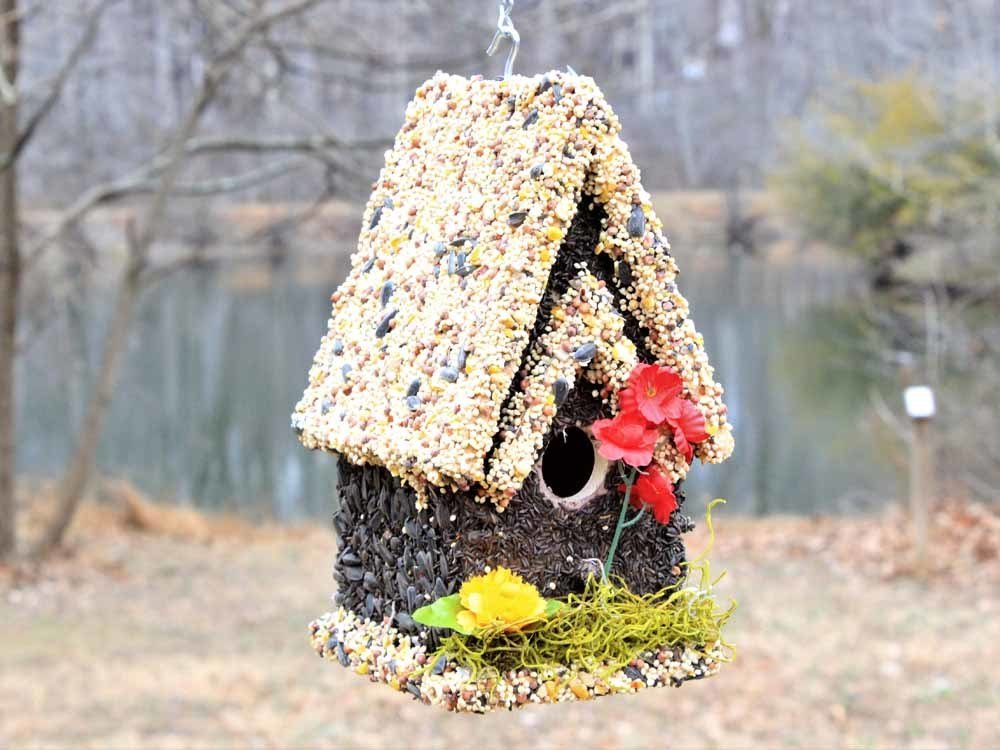 Edible Bird Feeder - Light Roof Tall Birdhouse 096121910014