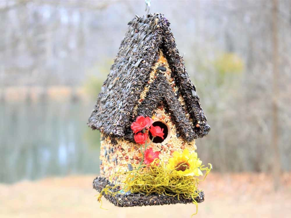 Edible Bird Feeder - Dark Roof Tall Birdhouse 096121900015