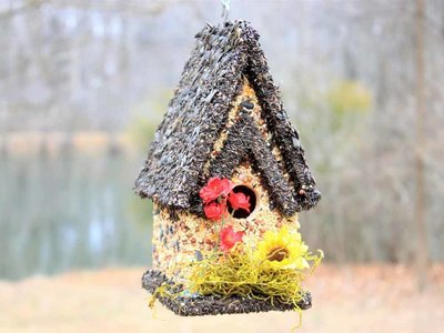Edible Bird Feeder - Dark Roof Tall Birdhouse