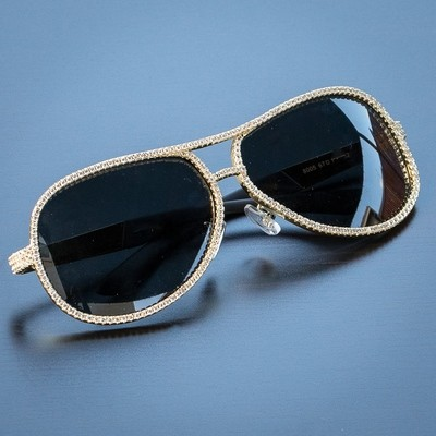 938c594eb30 Iced Out Dark Tint Gold Diamond Sunglasses