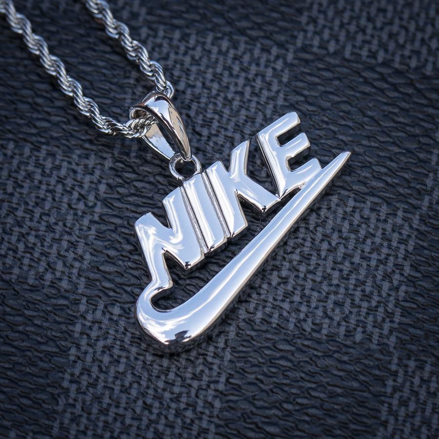 981c89971c9e8 Mini White Gold Nike Swoosh Pendant Necklace