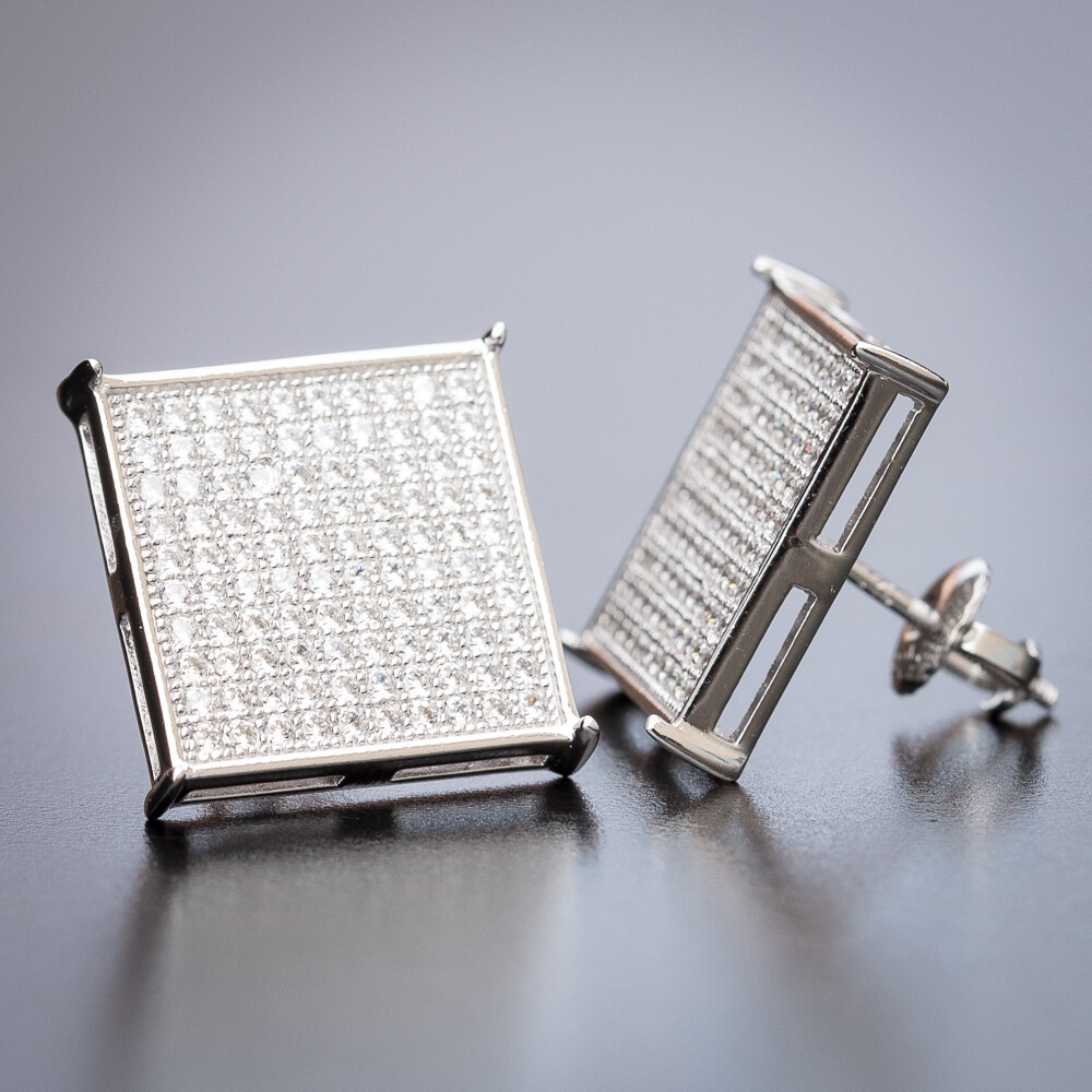 Men S Large Square White Gold Cz Hip Hop Earrings