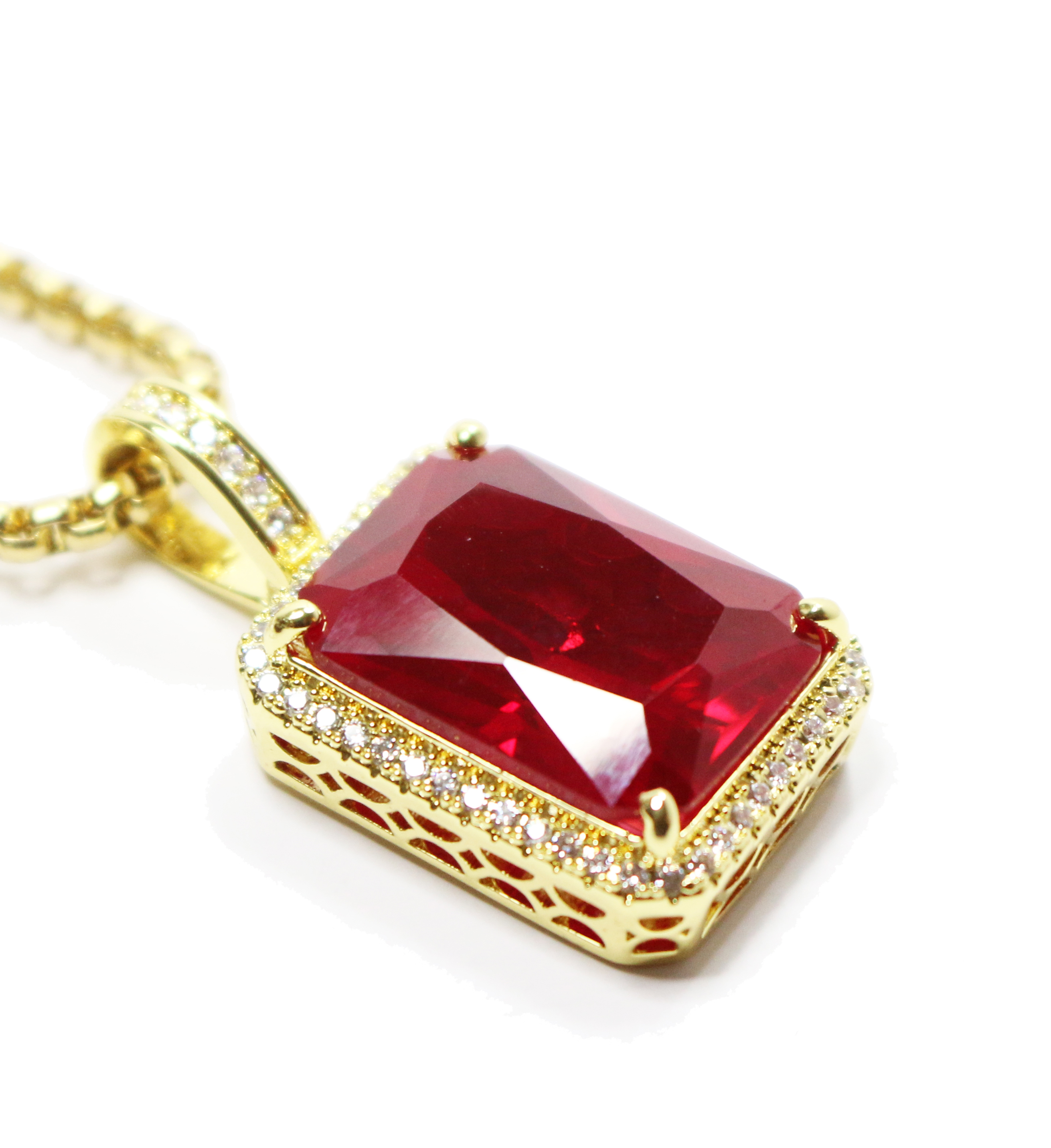 Ruby Red Square Gold Necklace Chain | Men\'s Hip Hop Jewelry ...