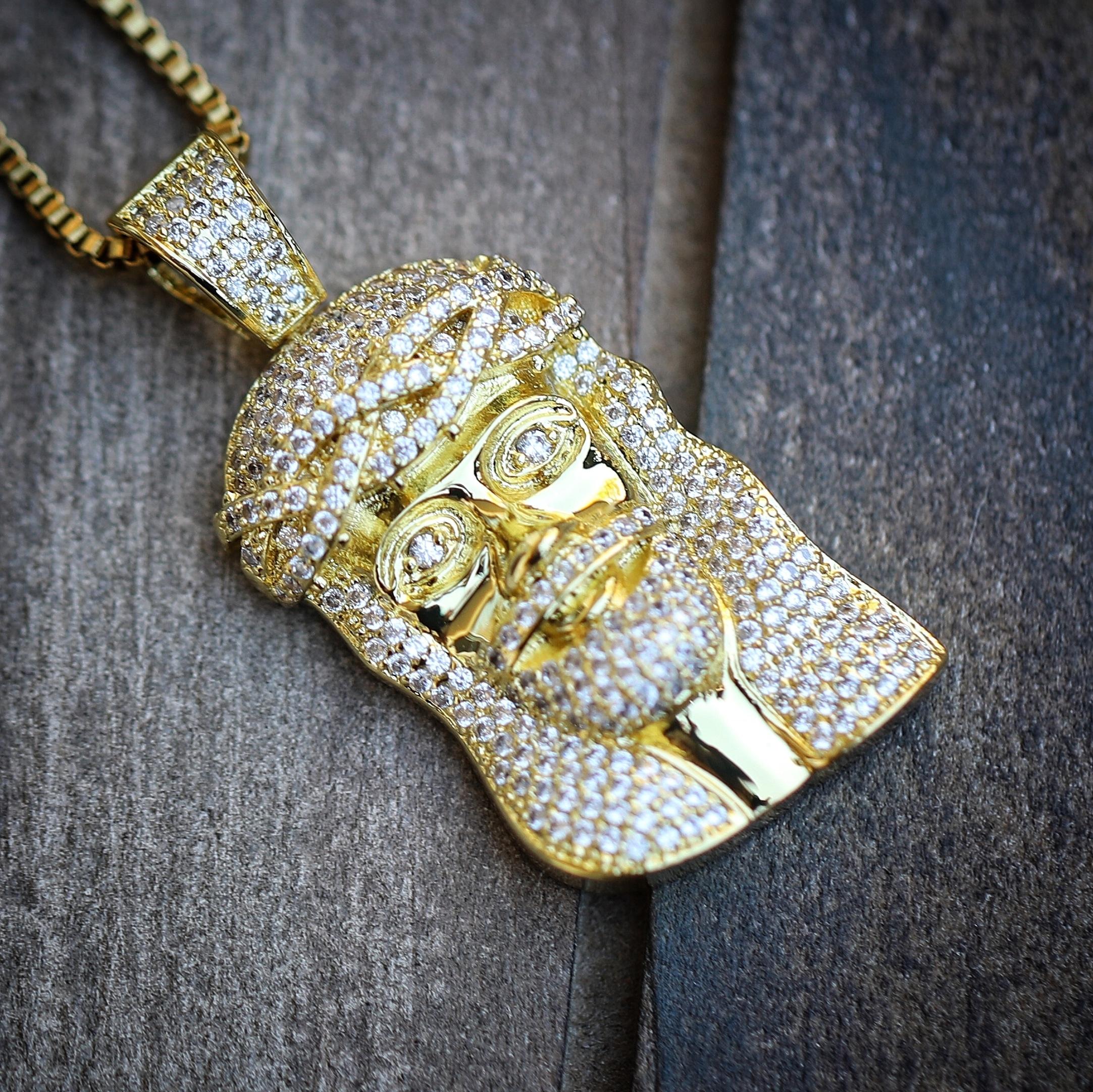 Mini hip hop 14k gold plated jesus piece necklace mens hip hop 0401 mini hip hop 14k gold plated jesus piece necklace mozeypictures Images