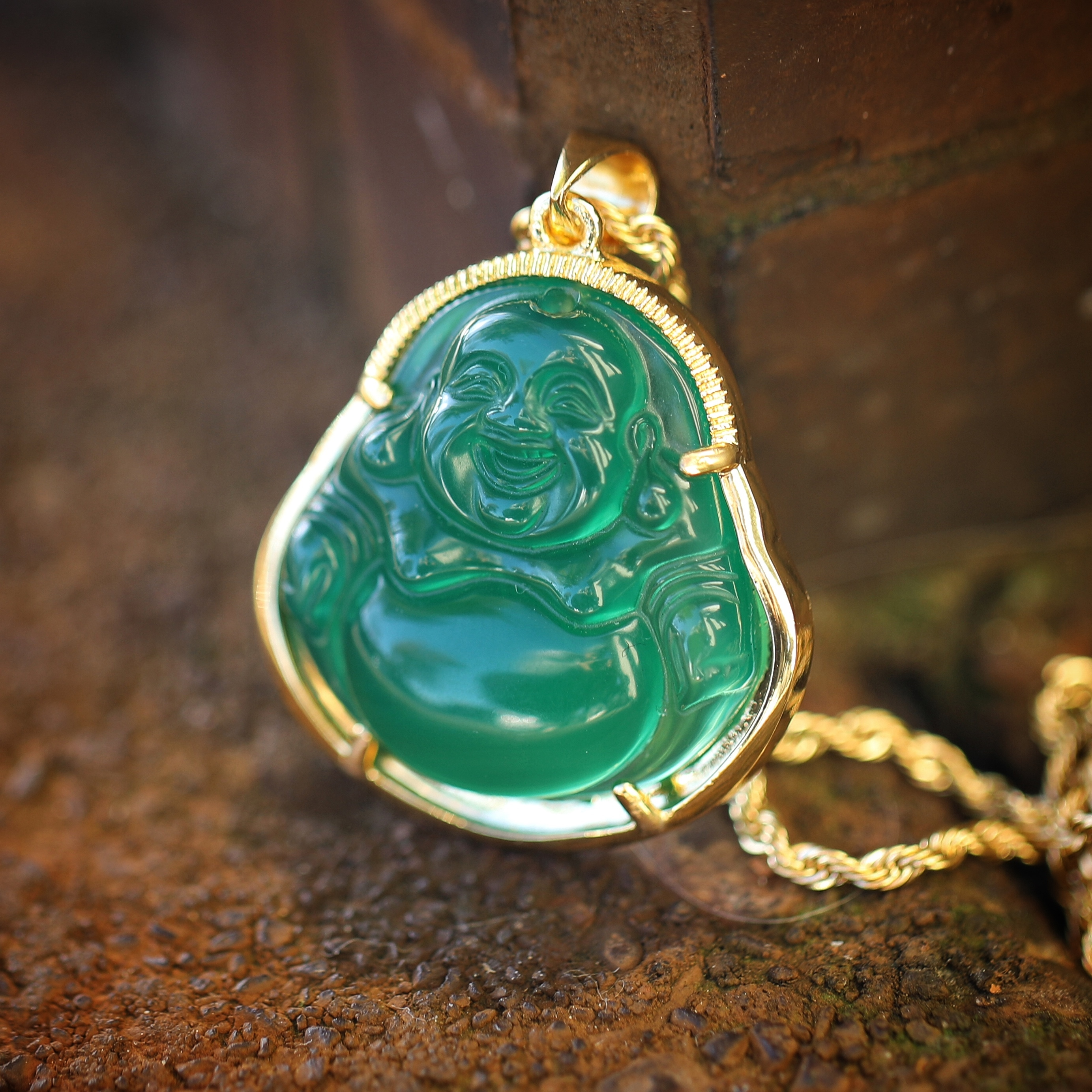 Mens 18k gold green jade buddha pendant and rope chain necklace mens 18k gold green jade buddha pendant and rope chain necklace mozeypictures Image collections