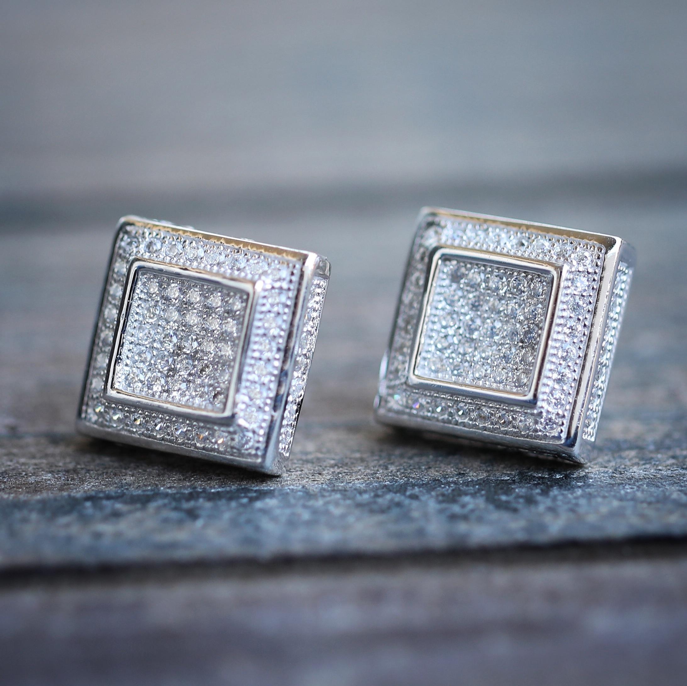 Mens Silver Square Diamond Stud Earrings