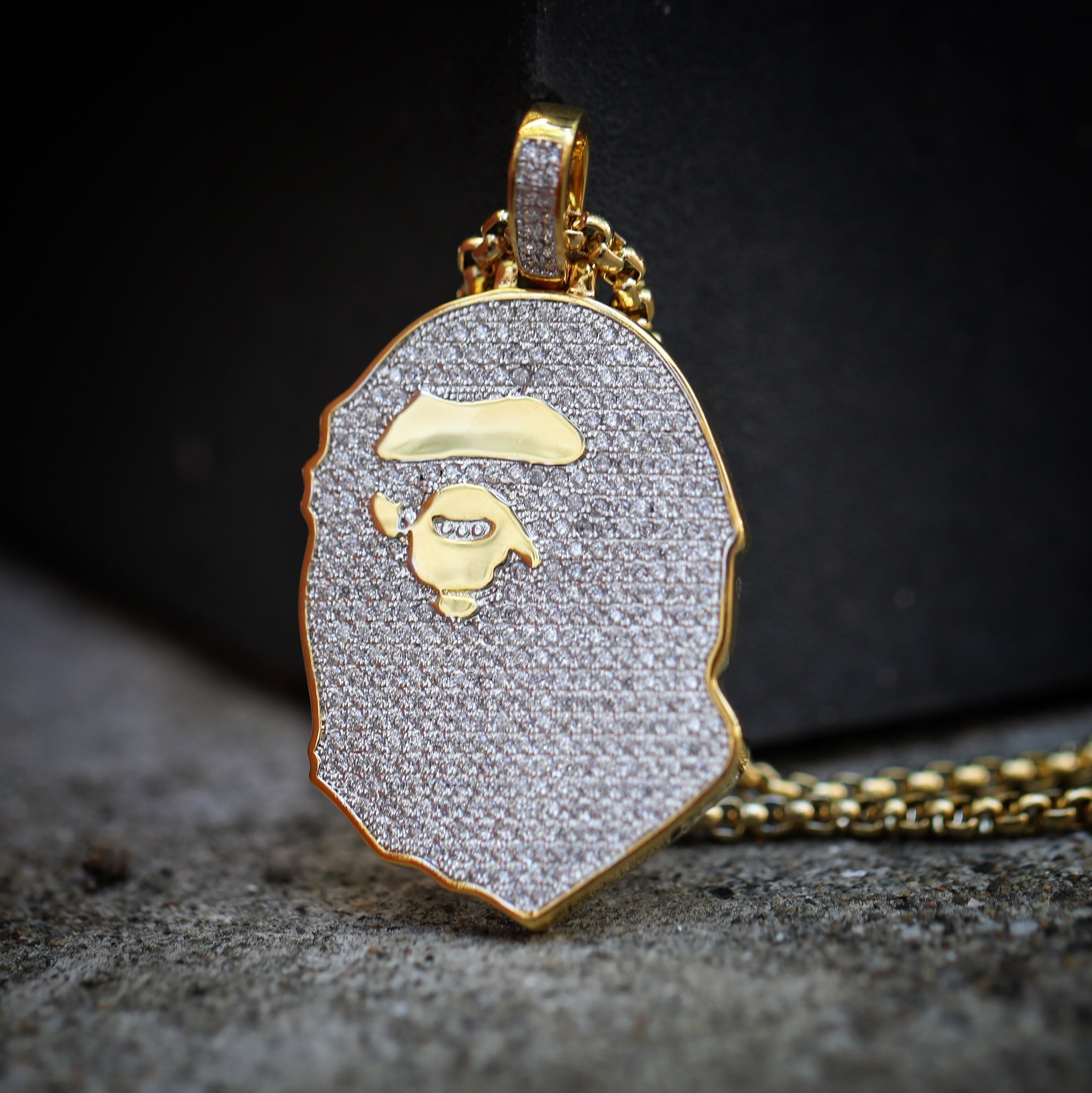 Mens iced out 14k gold ape pendant and chain necklace mens hip 0460 mens iced out 14k gold ape pendant and chain necklace mozeypictures Gallery