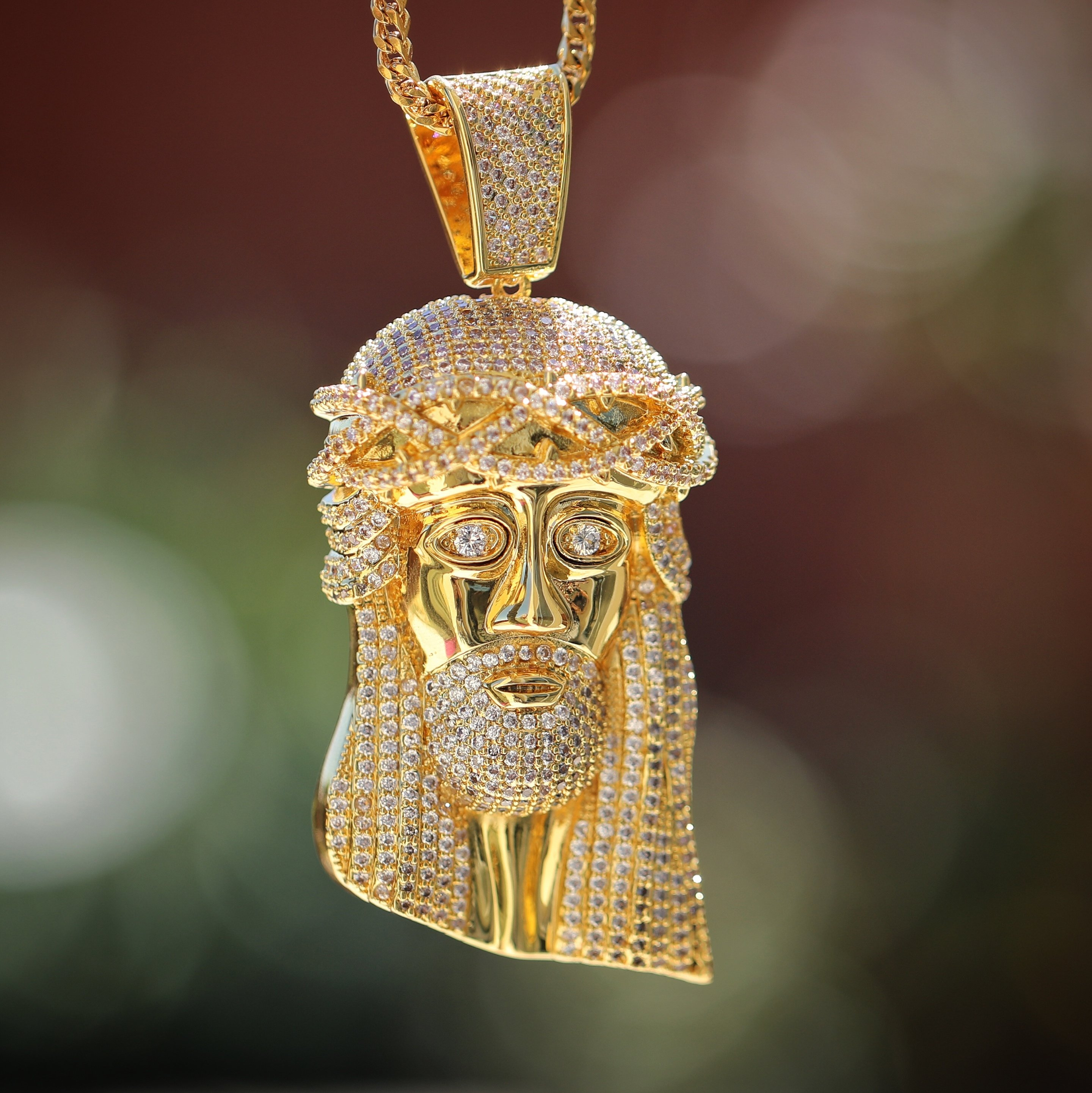 Large Size Iced Out Hip Hop Jesus Piece Necklace | Men\'s Hip Hop ...