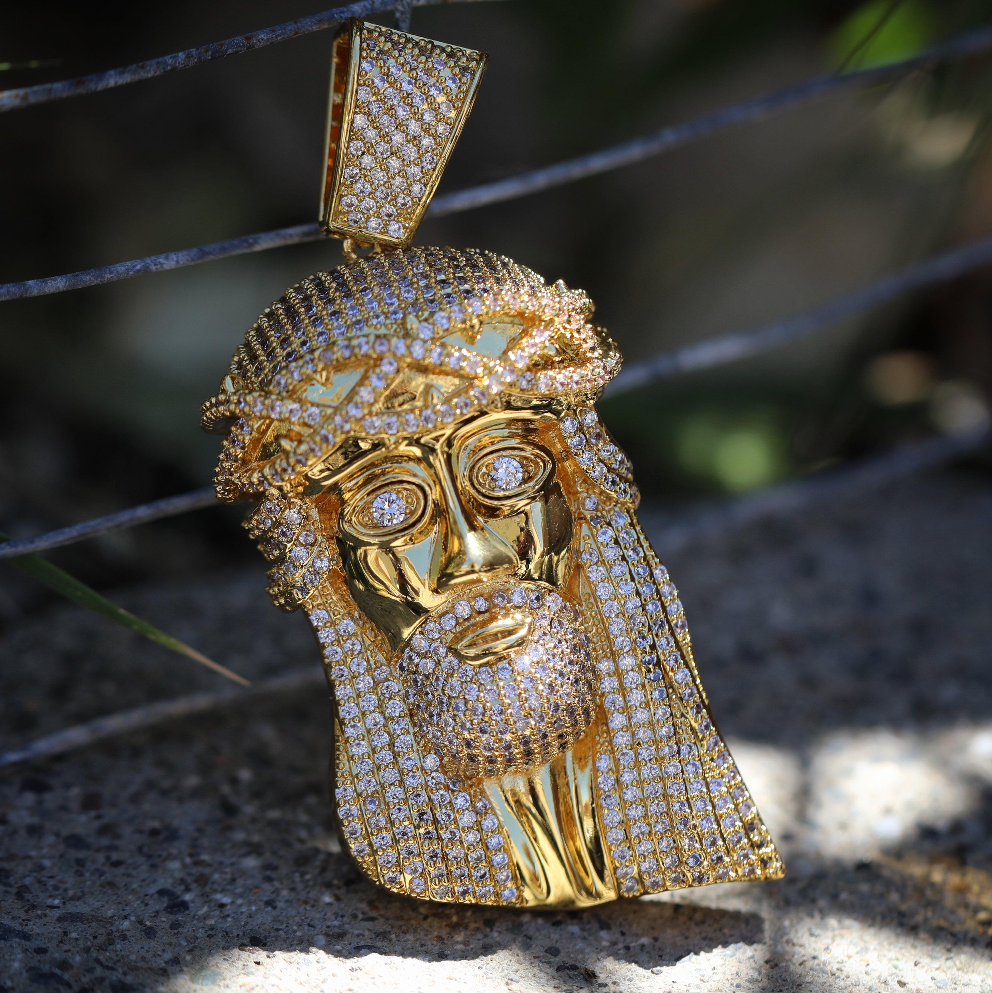 Iced out hip hop gold jesus piece pendant mens hip hop jewelry 0145 iced out hip hop gold jesus piece pendant aloadofball Image collections