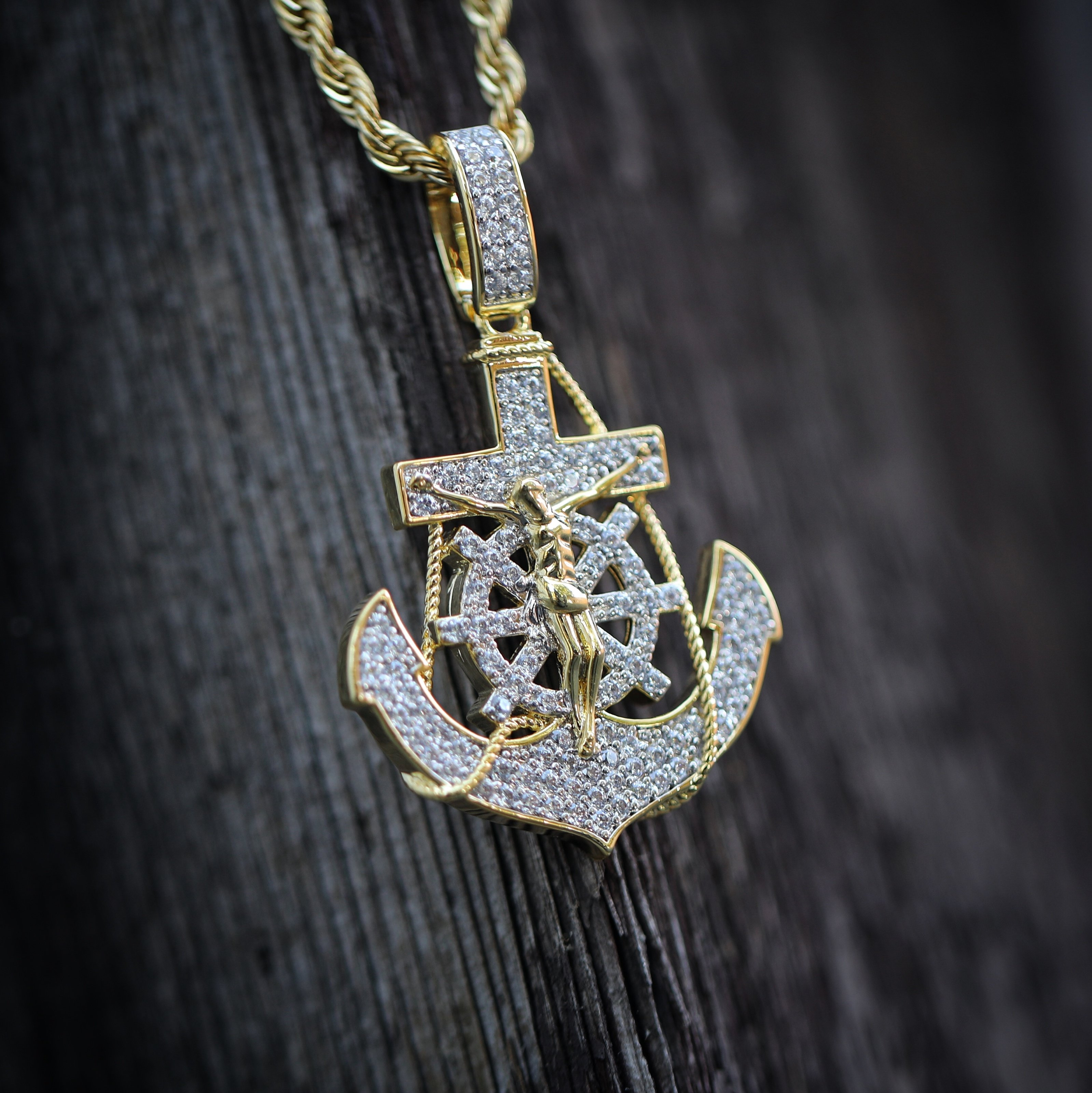 Jesus piece necklaces mens hip hop jewelry pendants chains gold iced out jesus on anchor pendant with rope chain 2399usd mozeypictures Gallery