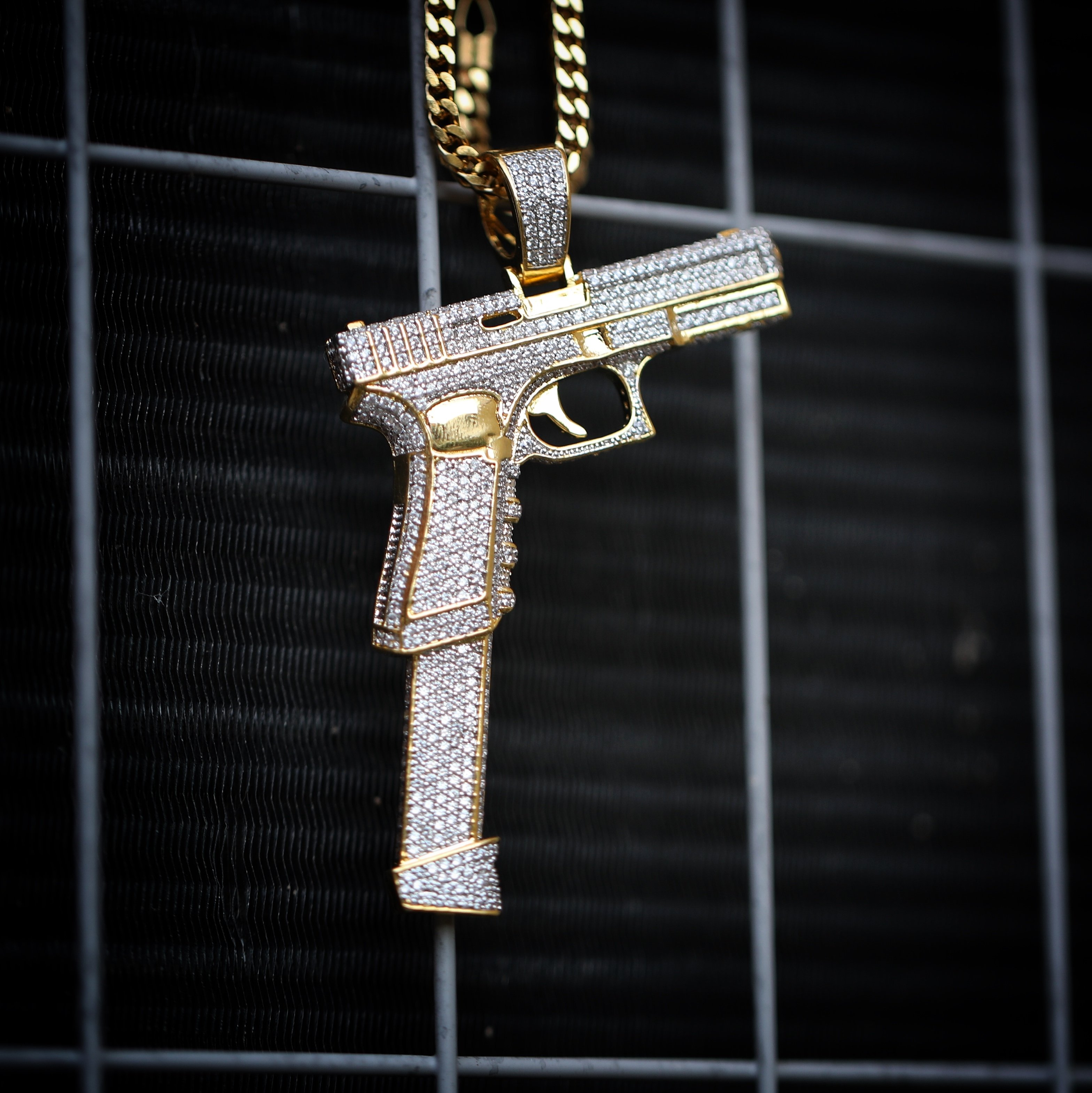 Large gold hand gun pistol pendant with 30 inch franco chain 0506 large gold hand gun pistol pendant with 30 inch franco chain necklace aloadofball Image collections