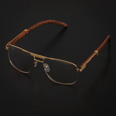 f5d45b1f47b Mens Gold Pilot Clear Lens Retro Wood Frame Glasses