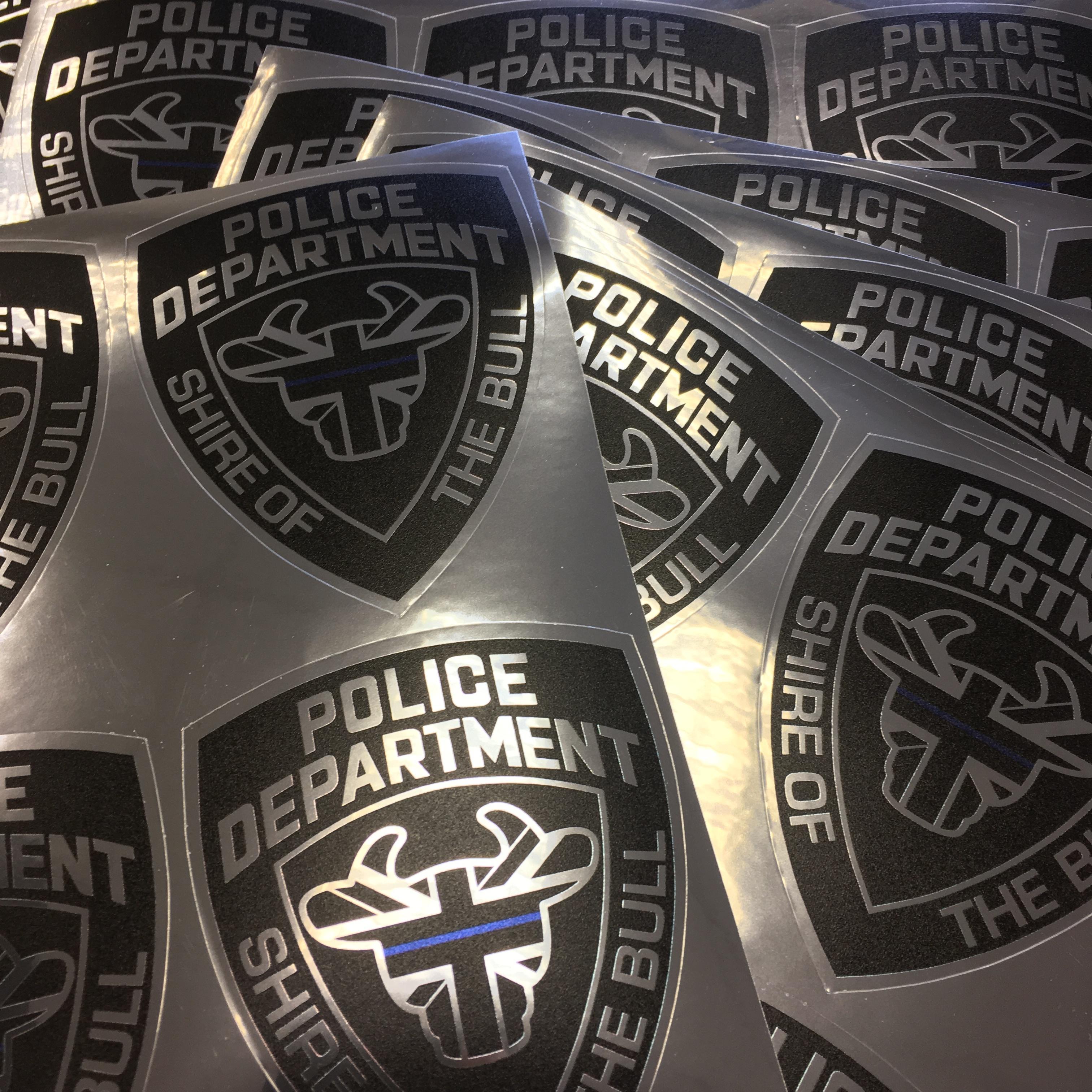 Shiny Silver Coloured 'BullShield' Stickers