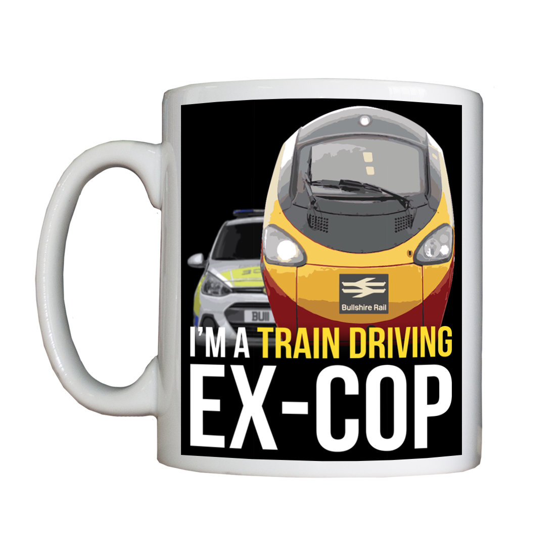 Personalised 'Train Driving Ex-Cop' Drinking Vessel ExCopTrainDriverVessel