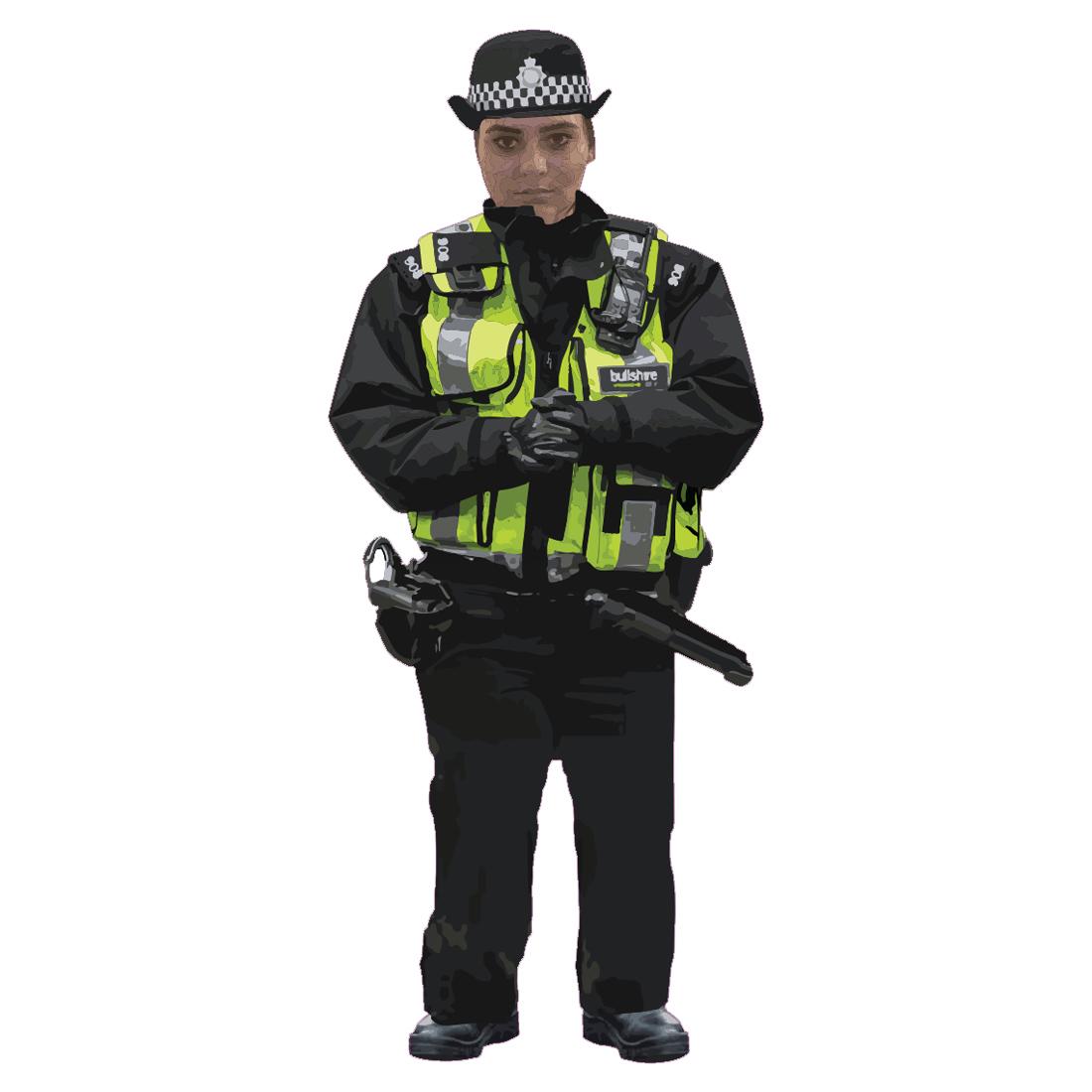 Happy Female Policeman Pin Badge HPWPB