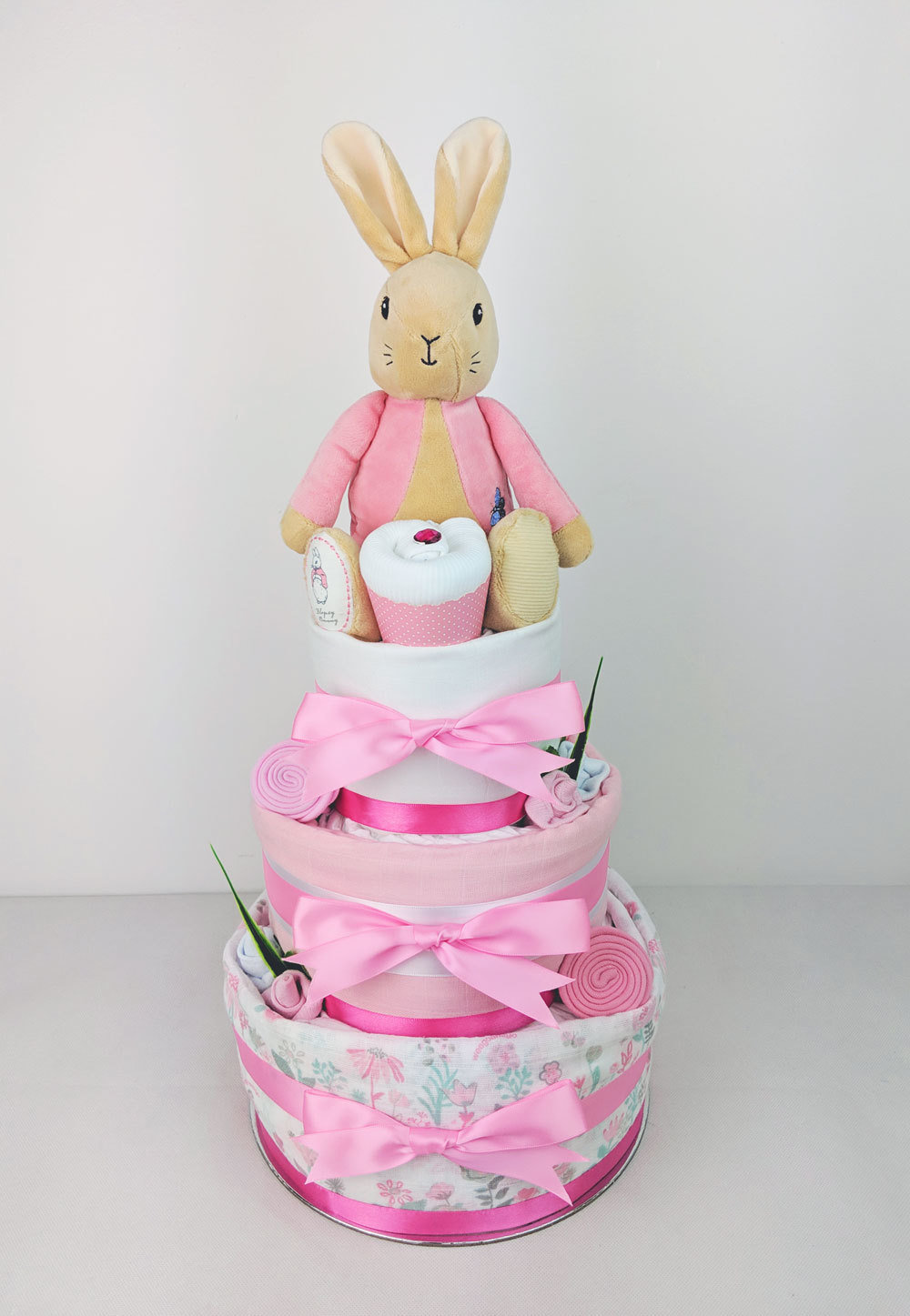Three Tier Flopsy Bunny Nappy Cake