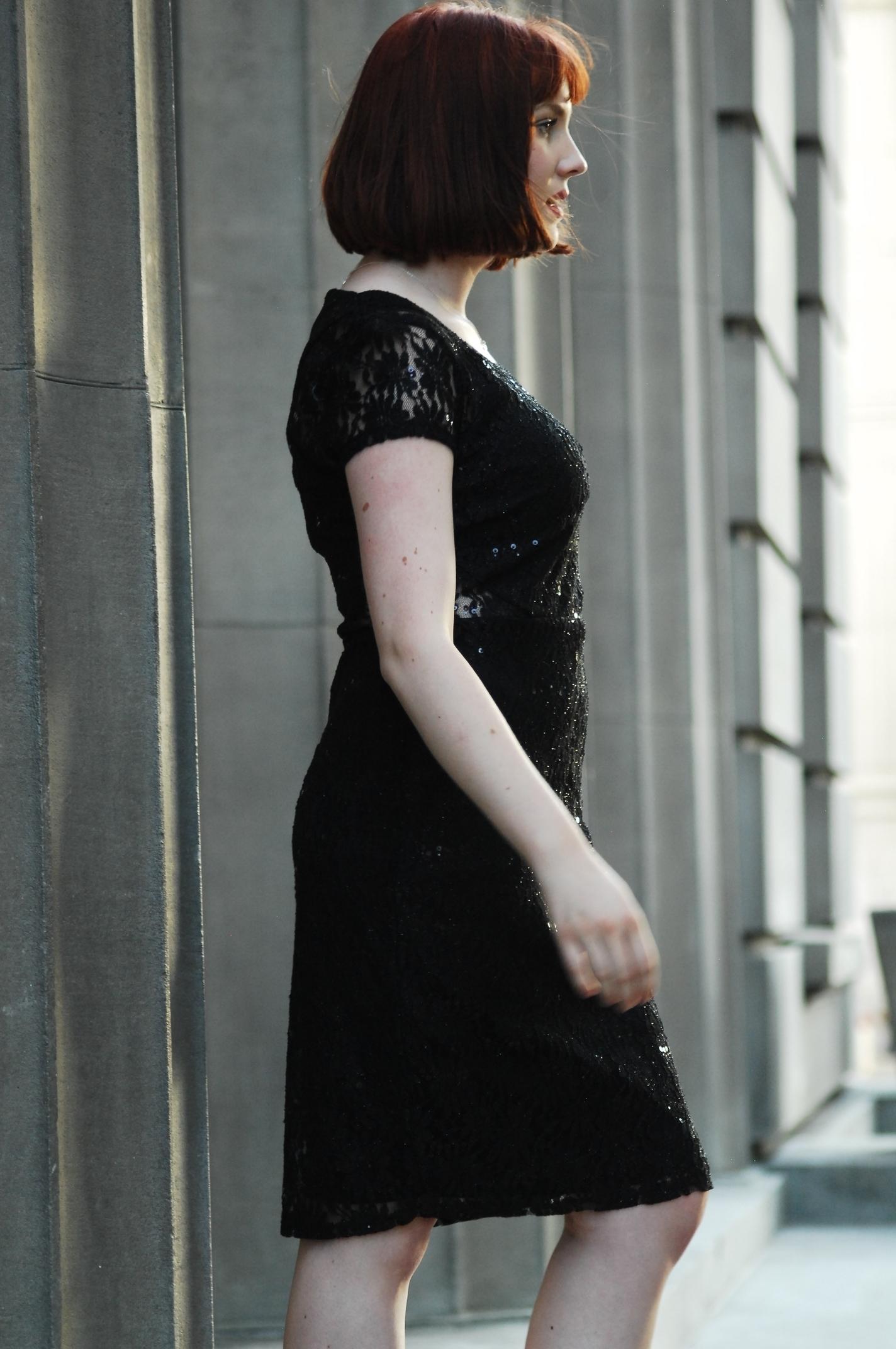 Black lace sequin dress