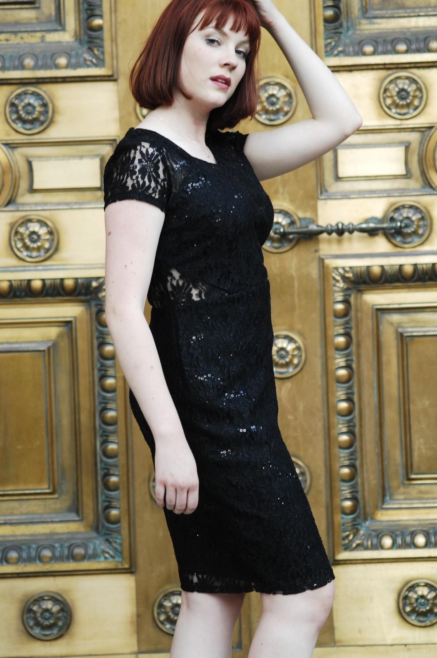 Women black lace dress