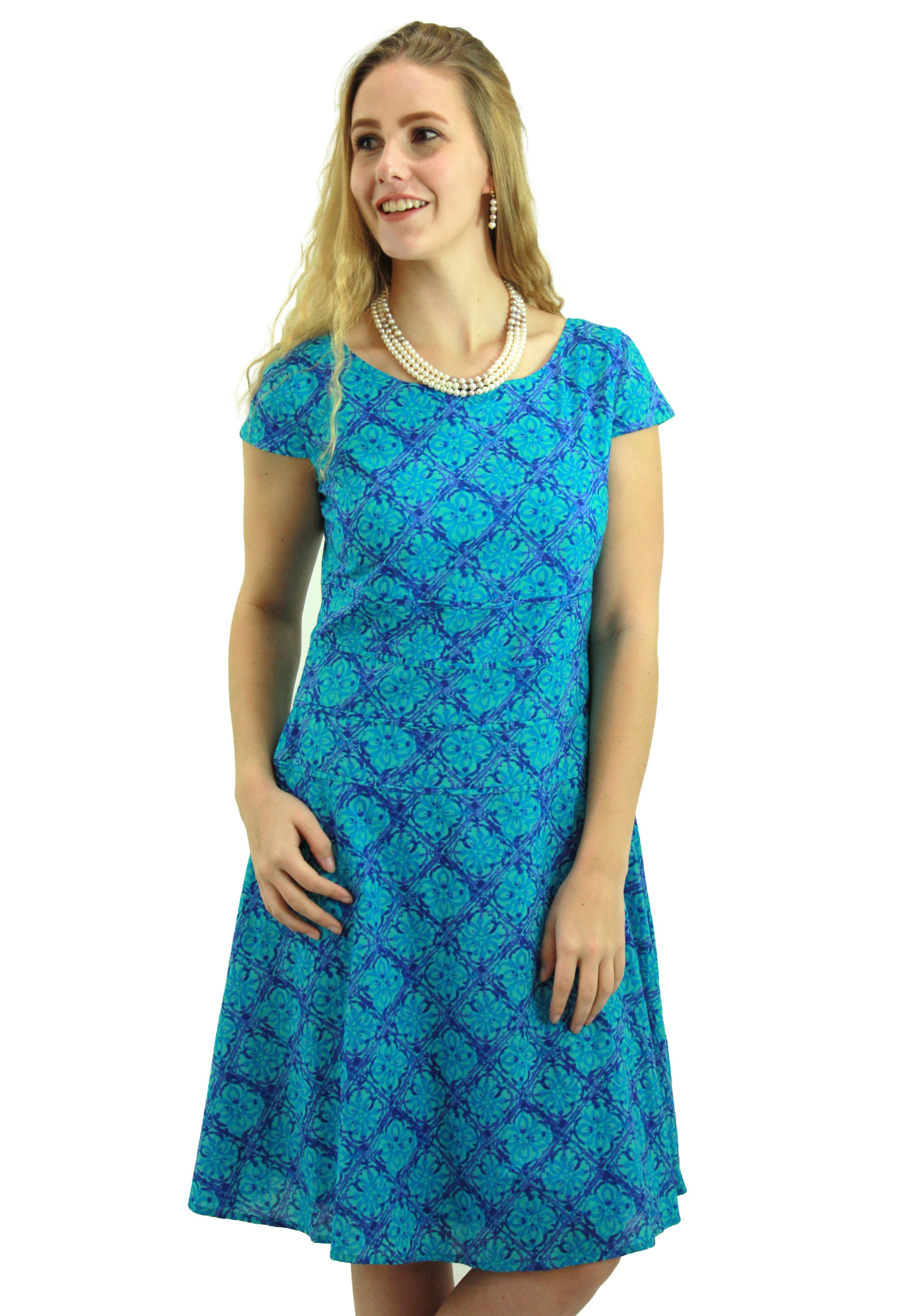 Turquoise Blue Tile Print Casual Dress DRHN015