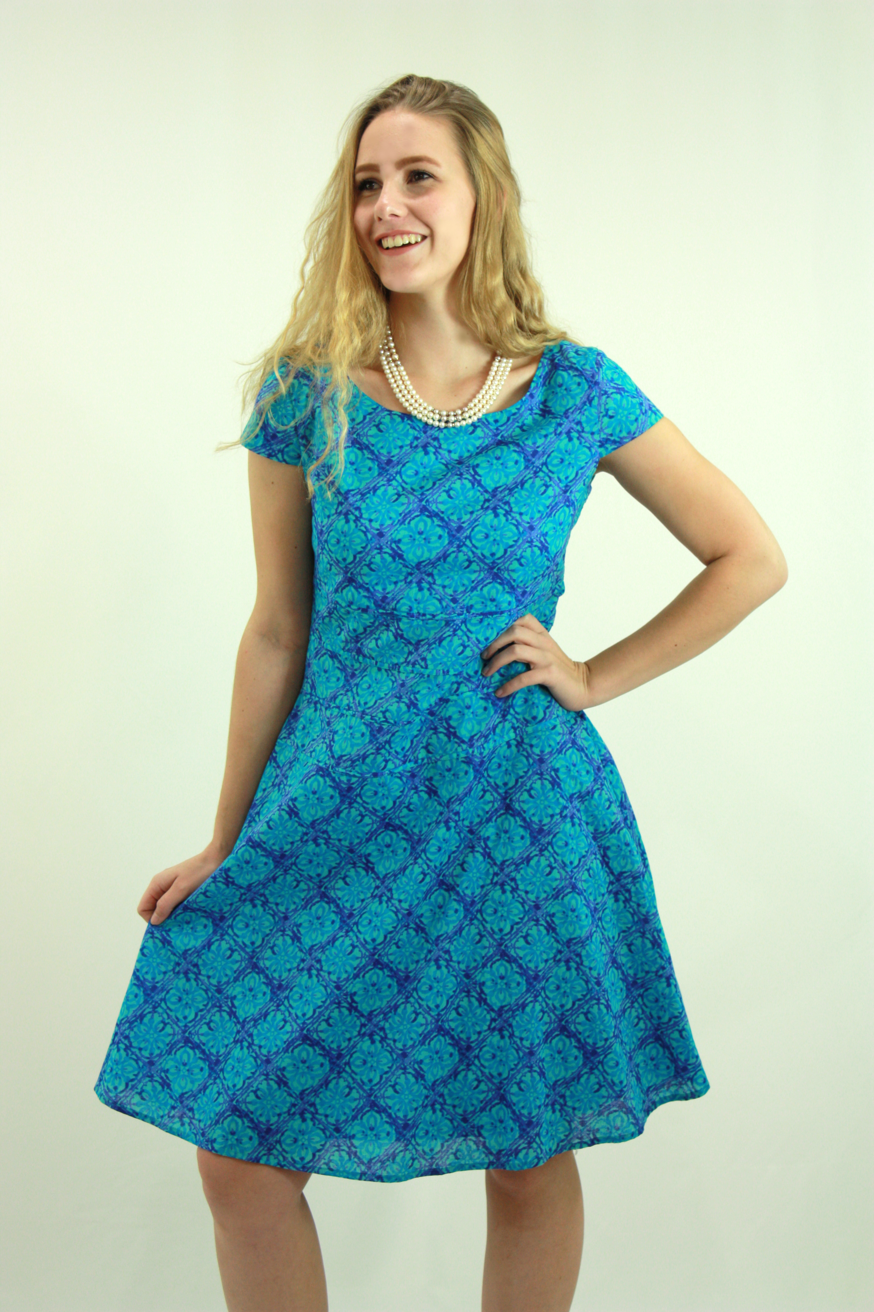 Turquoise Blue Print Dress | Designer Dresses Online | Women\'s ...