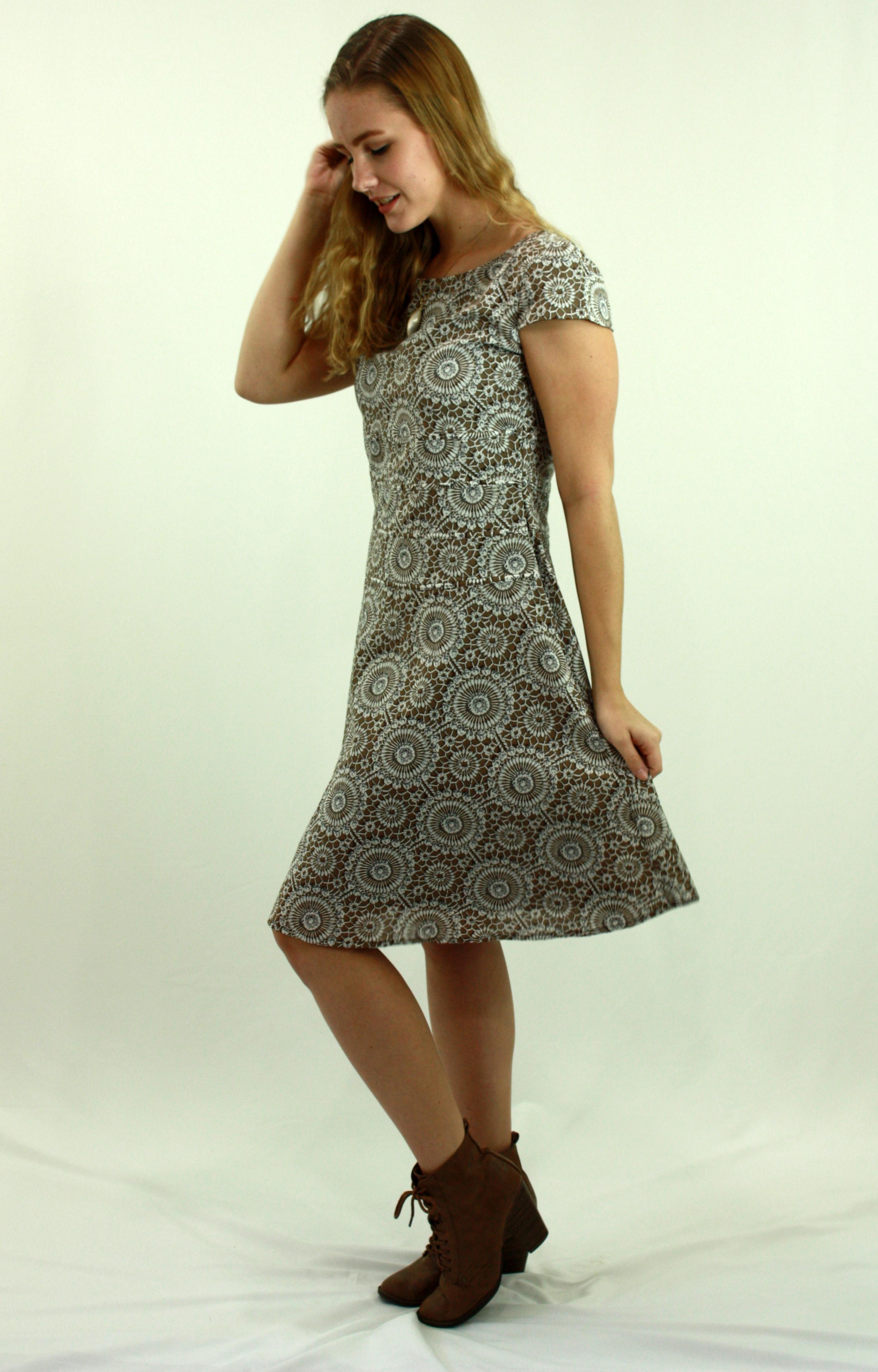 Printed camel causal dress