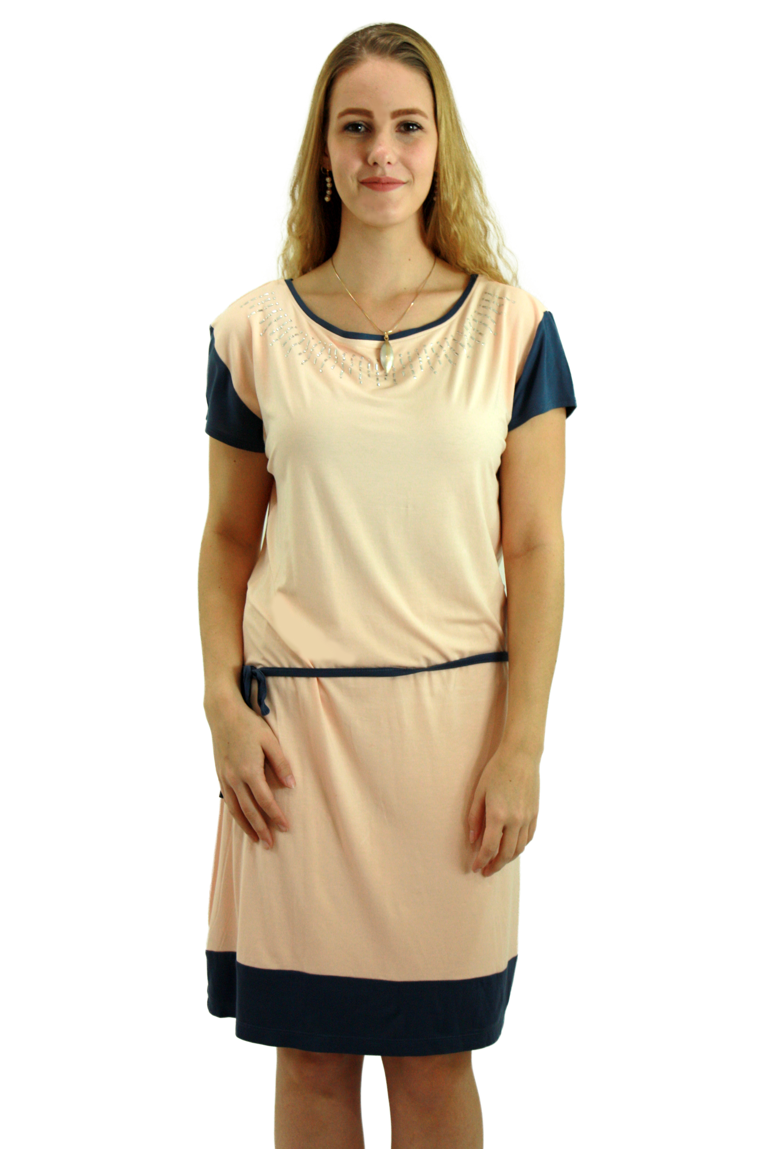 Pink and Grey tunic dress with embellished neckline LYPG008