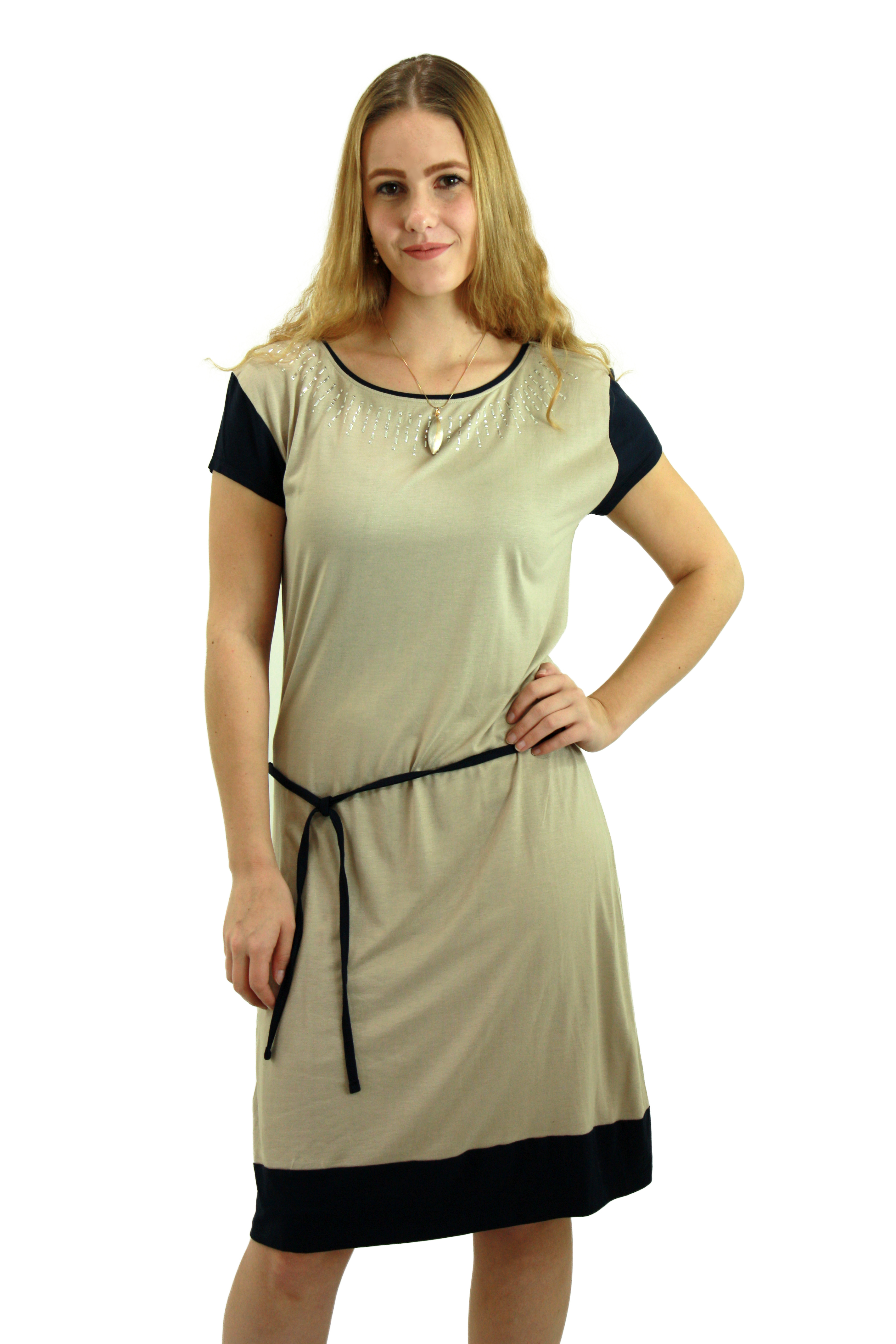 Teal and Grey tunic dress with embellished neckline LYBG009