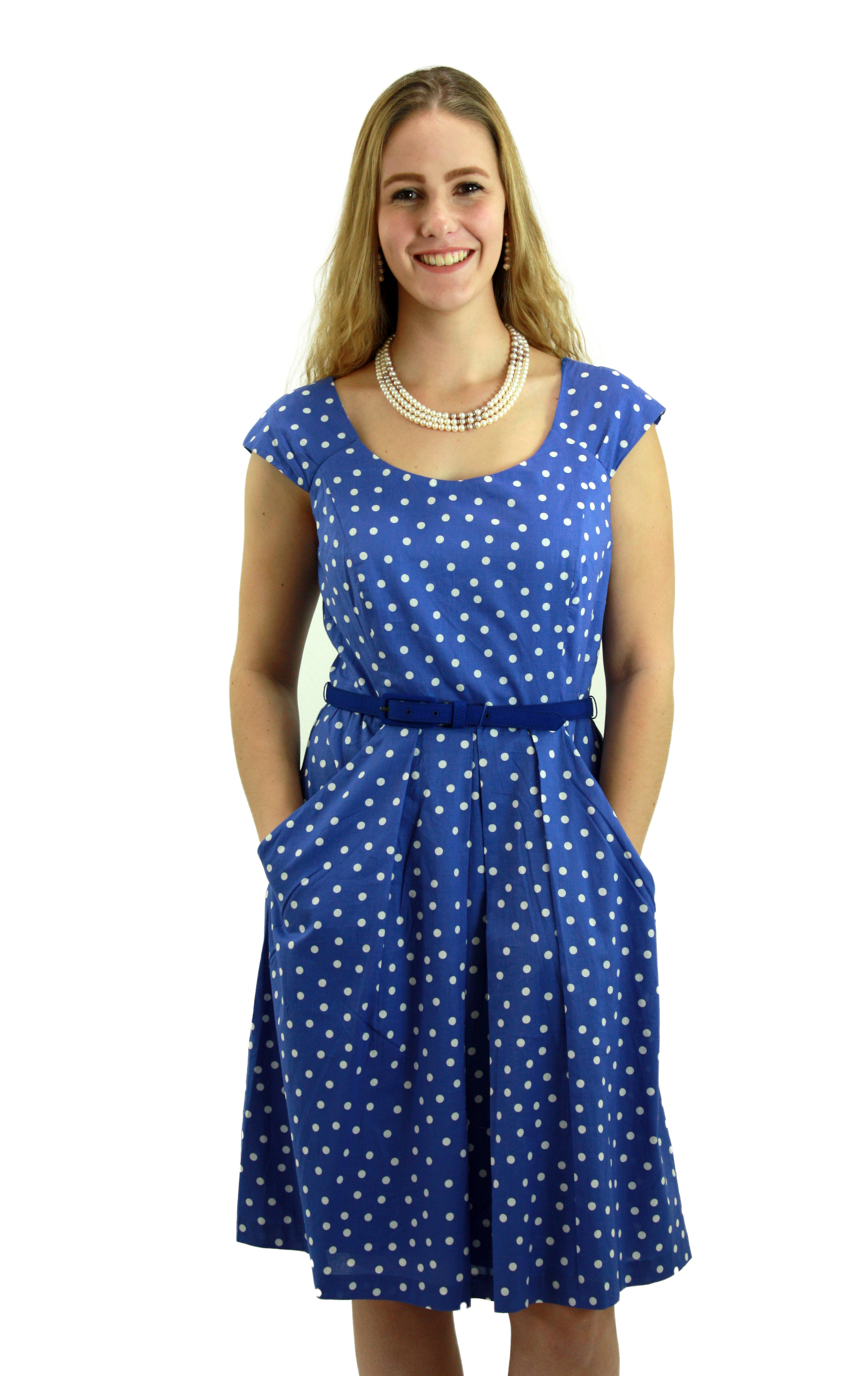 Lavender Blue polka dotted Fit and Flare Dress with Belt DRLN014