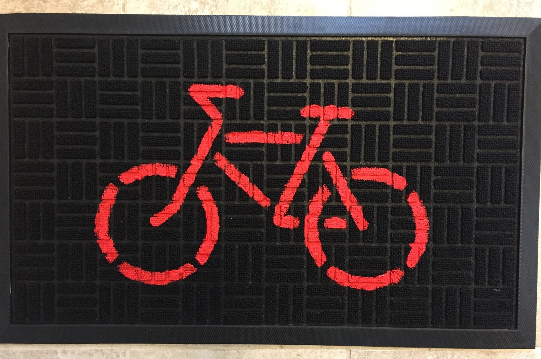 Bicycle Doormat - Red on Black