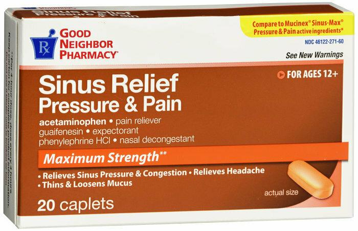 GNP MUCUS RELIEF SINUS MAX PAIN CAPLETS 20CT