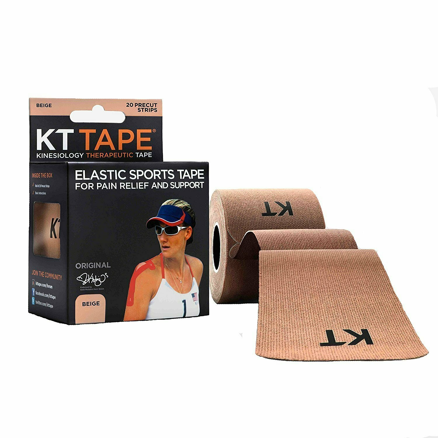 KT Tape Original Cotton Elastic Kinesiology Therapeutic Sports Tape, 20 Pre cut 10 inch Strips, Beige