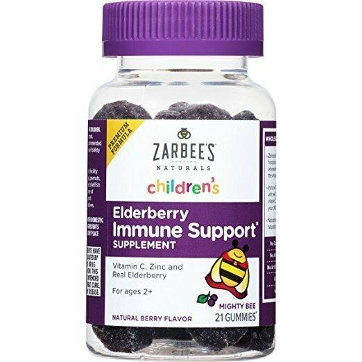 Zarbee's Naturals Children's Elderberry Immune Support Gummies with Vitamin C, Zinc, Natural Berry Flavor, 21 Gummies