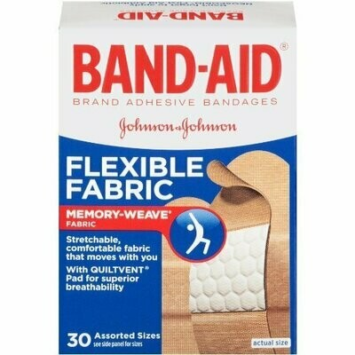 BAND-AID FLEXIBLE FABRIC ASSORTED 30CT