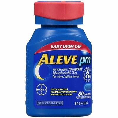 Aleve PM Pain Reliever/Nighttime Sleep-Aid Caplets 80 each