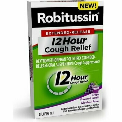 Robitussin Extended-Release 12 Hour Cough Relief, Grape 3 oz