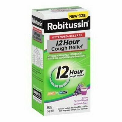 Robitussin Extended Release 12 Hour Cough Relief Liquid, Grape, 5 Oz