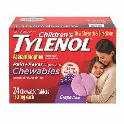 Tylenol Childrens Pain Plus Fever Chewable Tablets, Grape, 24 Each