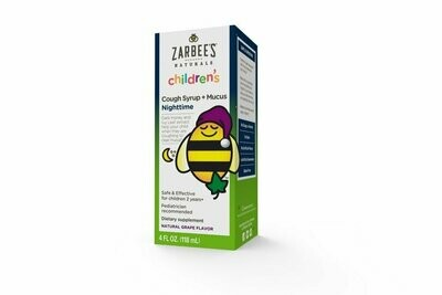 Zarbee's Childrens' Nightime Cough Syrup and Mucus Reducer, Grape Flavor, 4 Fluid Ounce