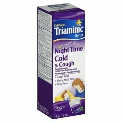 Children's Triaminic Syrup, Night Time Cold & Cough, Grape Flavor, 4 fl oz