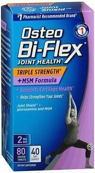 Osteo Bi-Flex Joint Health Triple Strength + MSM Formula Joint Shield + Glucosamine - 80 Coated Tablets