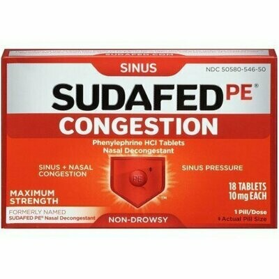 SUDAFED PE Congestion Tablets 18 each