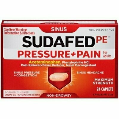 SUDAFED PE Pressure + Pain Maximum Strength Caplets for Adults 24 each