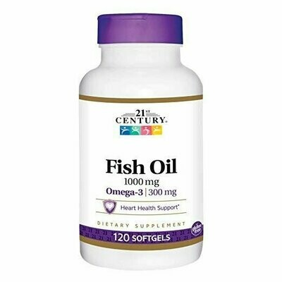 21st Century Fish Oil 1000 mg Softgels, 120 Count