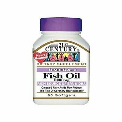 21st Century Omega-3 Fish Oil 1,000mg 60 Softgels