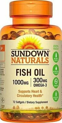 Sundown Naturals Fish Oil 1000 mg, 72 Softgels