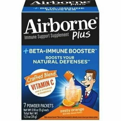 Airborne Plus Beta-Immune Booster Zesty Orange Powder Packets 7 each