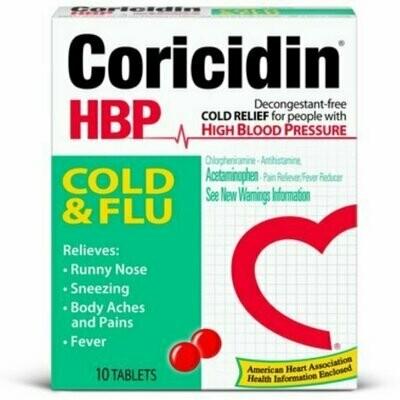 Coricidin HBP Cold & Flu Tablets, 10 each